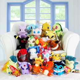 Wholesale Video Games Plush - 2016 New 13-20cm Poke plush toys 20 styles torchic Mewtwo Groudon Charmander eevee Pikachu Soft Stuffed Dolls toy New years Gift