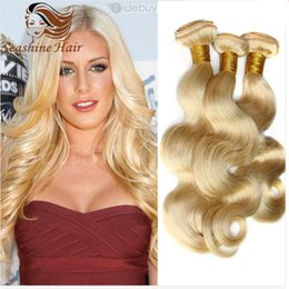 "Wholesale Very Cheap Hair Extensions - Very Soft Virgin Brazilian Body Wave Hair Brazilian 613 Blonde Hair Extension 4Pcs Lot Body Wavy Hair 8""-30"" Cheap 613 Human Hair Weave"