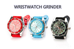 Wholesale Grinder Watches - 1pc Fashion Classic Two in one Grinders Really Watch Watch Tobacco Grinder Somking Herb Grinder Rubber Wristwatch Cheap Wholesale