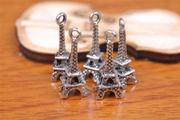 Wholesale Eiffel Earrings - 300pcs 21mm Lover Eiffel Tower Pendant Beads Components Charms 7097 Plated Silver DIY Jewelry Craft Necklace infinity Fit Bracelets Earring