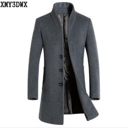 Wholesale Mens Brown Wool Winter Coat - Wholesale- XMY3DWX New 2017 New Winter Men's Wool Trench Jacket Business Long Trench Coat Male European Style Mens Overcoat Windbreaker