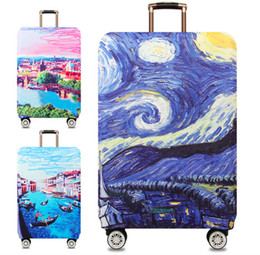 Wholesale Protective Suitcase Covers - Travel luggage case bag protective cover print elastic dust proof suitcase cover S M L XL
