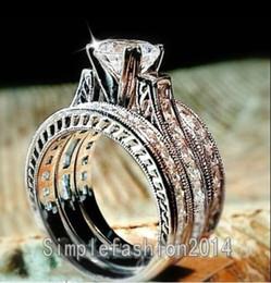 Wholesale Gold Filled Men Ring - Free shipping Wholesale Hot Engagement Princess cut 6mm Topaz White Gold Filled Men Women Wedding Ring Set for christmas Sz 5-11