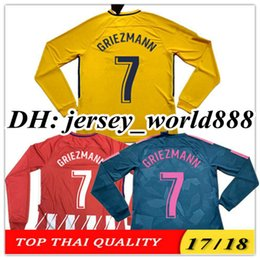 Wholesale Custom Soccer Shirts - TOP QUALITY 17 18 GRIEZMANN KOKE GABI soccer jersey Long sleeve HOME away 3rd RED F TORRES AWAY GODIN CUSTOM CARRASCO SAUL Football shirts