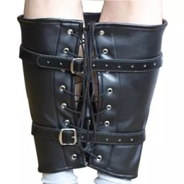 Wholesale Wrist Thigh Restraint - 2015 BDSM Bondage Gear PU Leg Thigh Binder Cuffs Bundle Restraint Black Belt Adult Sex Toys Sex Products for Couple BJ302903