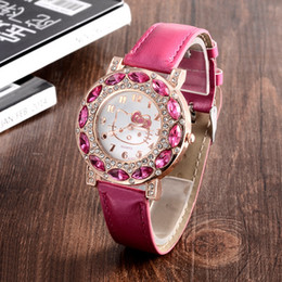 Wholesale Leather Watches For Women Cheap - Holiday Sale New Arrival Cheap Lovely Girls Hello Kitty Women Watch Children Fashion Kids Crystal Wrist Watch For Gift.