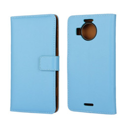 Wholesale Cooling Book - Cool Genuine Leather Book Style Wallet Flip Back Skin Cover Case for Microsoft Lumia 950 XL with ID Card Slot Holder