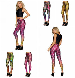 Escamas leggings online-Mermaid Fish Scales Leggings Mujeres Mermaid Slim Tights Jeggings Tail Fins Shiny Fitness Lápiz Pantalones 6 Estilos 20pcs OOA3390