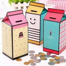 Wholesale Bamboo Counter - 2016 new Storage Bottles & Jars Cute DIY Milk Bottle Piggy Bank Money Saving Box Coin Counter free shipping