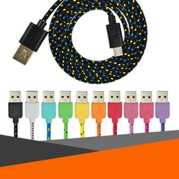 Wholesale Rose Red Fabric - Nylon Braided Usb 2.0 Fabric Micro USB Data Cable Cord Micro to USB Sync Charge Cable Cord for Android Samsung Galaxy S6 S7 edge