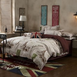 Wholesale Classic Bedding Sets - Wholesale-New Arrival Eiffel Tower Printed Comforters Brown Classic Cotton Bedclothes Soft Home Bedding Set Twin Queen King