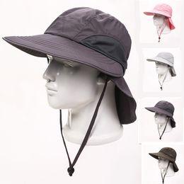 Wholesale Hat Cap Uv - 2018 New Design Fashion Man Camping Fishing Cap Woman Summer Wide Brim Outdoor Sports UV Protect Travel Beach Sun Hat