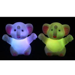 Wholesale Elephant Vinyl - Rainbow Colors Creative Decoration Light Elephant Shape Vinyl LED Night Light 9022