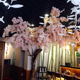 Wholesale Live Cherry Blossom - Artificial 1 Meters Long Elegant white Cherry Blossom Wreaths Home Living Display Wedding Decoration Supplies