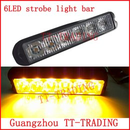 Wholesale Green Police Light Bar - 6led Police strobe lights vehicle strobe light bar car warnning lights truck led emergency lights DC12V RED BLUE WHITE AMBER
