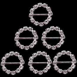 Wholesale Clear Chairs - 17mm Dia Round Crystal Buckles Brooches Clear Silver Plated Rhinestone Invitation Ribbon Buckle Chair Slider Wedding Events Supplies