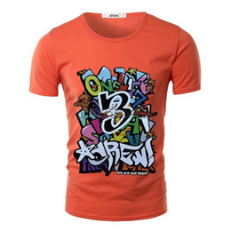 Wholesale Teenagers Casual Shirts - 2016 New Personality Graffiti Homme Top T Shirt Cartoon Letter Printing 8 Colors Summer Clothing For Teenagers