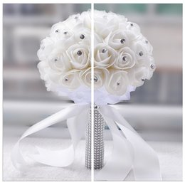 Wholesale Crystal Flower Suppliers - Beaded Crystal Bridal Bouquets For Garden Beach Wedding Suppliers High Quality Bridesmaid Wedding Bouquet PE Rose Flowers Handmade
