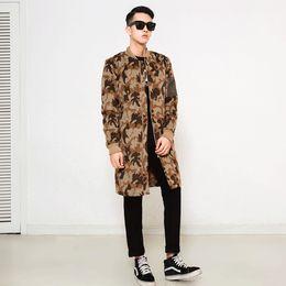 Wholesale Trench Coats Beige Mens - Fall-men trench coat new winter men's windbreaker long Japanese style camouflage Coat manteau homme mens overcoat