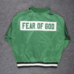 Wholesale Embroidery Collection - Fear Of God Special 1987 Collection Jacket Kanye Justin Bieber New Streetwear Black Green Half-Zip Bomber Jackets Pullover Hoodie SHG0919