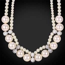 Wholesale Jewelry Gift Boxes For Pearls - Pearl Jewelry Austrian Rhinestone Pearl Beads Necklace For Women High Quality Fashion Accessories Match Gift Box MGC