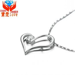 Wholesale Heart Shaped Lock Pendant - Star with heart-shaped pendant Sterling Silver Necklace imitation D-99 diamond heart lock eight heart eight arrow zircon 925 silver jewelry