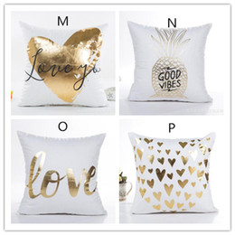 Wholesale Decorative Covers - New Bronzing Cushion Cover Gold Printed Pillow Cover Decorative Pillow Case Sofa Seat Car Pillowcase Soft