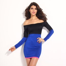 Wholesale Sexy Hip Tube - Shiny Black Blue off Shoulder Mini Dress Summer long-sleeve tube top strapless slim hip sexy one-piece dress