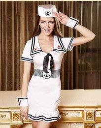 Wholesale Sexy Female Soldiers - Sexy Navy sailor cosplay costume Soldiers Performance fishtail skirt mini dresses with Anchor badge cap,bracelets for Halloween party 190258