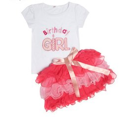 Wholesale Girls Tutus T Shirt - New 2pcs Cloth suit baby short sleeve Happy birthday t shirt +Bow tutu layered cake skirts 2pcs girl summer clothing 5s l