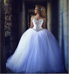 Wholesale Made Center - 2016 Luxury Rhinestone Wedding Dresses Crystal Corset Ball Gown Bridal Dresses Chapel Train Arabic Wedding Gowns Center Novias Custom Made