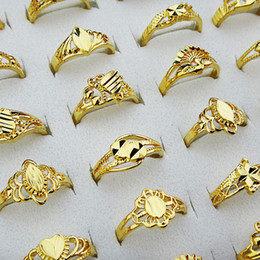 Wholesale Wholesale Vintage Style Rings - 2016 NEW Charms 10pcs 18K Gold Vintage Womens Mix Style Carving Rings Wholesale Jewlery Lots A-806
