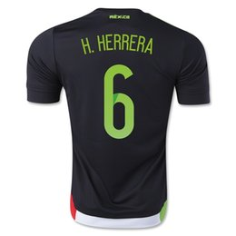 Wholesale H Shirts - 15-16 Season H. HERRERA #6 Mexico Home Black Jersey ,Customized Thai Quality Soccer Jersey Cheap Mexico Jersey Shirts Mexico Jersey for Sal