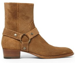 Wholesale Low Heeled Ankle Boots - Man Fashion Slp Classic Wyatt 40 Harness Boots In Camel Suede