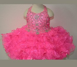 Wholesale Dress Baby Girl Hot Pink - New Fuchsia Rosie Girls Kids Pageant Dresses Formal Occasion Tiers Beaded Organza Halter Mini Prom Party Baby Little Girl Gowns 2015 Hot new