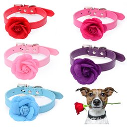 """Wholesale Red Velveteen - Dog Pet Collars Big Velveteen Flower with PU Leather Puppy Collars Pink Red Purple Blue Rose Neck For 8-18"""""""