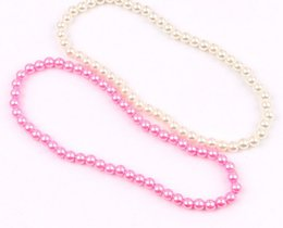 Wholesale wholesale children jewelry - NEW Kids Children pink and white color pearl Necklace performance necklace Jewelry Best gfit HH56
