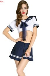 Wholesale Sexy Woman Cosplay - New Hot Cosplay Youth Student Uniforms Sexy Lingerie Women Erotic Costumes Toy Sexy Product Underwear Role Play Crop Tops Skirt Set SV011879