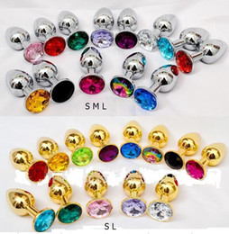 Wholesale Gold Plated Butt Plugs - Unisex Butt Toys Plug Silver Gold Insert Stainless Steel Anal Toy Metal Plated Jeweled Sexy Stopper promotion price S M L