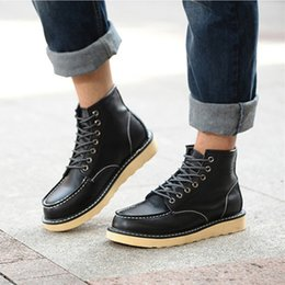 Wholesale Boots For Mens - Worker boots Men Fashion Joker Ankle Boots Mens Skid Resistance Rubber Sole Lace-Up Casual Boots For Man Three Color 39-44 H63