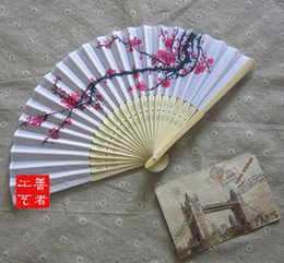 Wholesale Perfect Cherry Blossoms - DHL50pcs lot Chinese ink painting style cherry blossom silk hand fan perfect party favor or wedding favor 1203#03