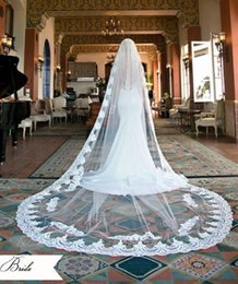 Wholesale Amazing Lace Wedding Veil - Free Shipping 2017 Gorgeous White And Ivory Veils Amazing Delicate Gracious Cathedral Church Charm Wedding Bridal Veil Bridal Accessories