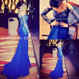 Wholesale Dreses Sleeves 16 - 2017 Lace Sheer Neck Formal Dresses Evening Gowns With Long Sleeves Prom Dreses Party Evening Gowns Mermaid Off The Shoulder Royal Blue
