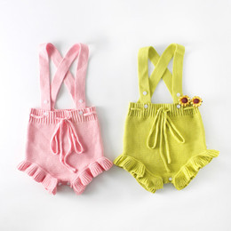 Wholesale Pink Zebra Princess - Ins Babys Girs Sweater Romper Kids Clothing 2018 Spring Princess Jumpsuits Rompers newborn Bow Romper YAN-908