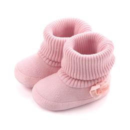 Wholesale Toddler Girl Booties - 2017 NEW HOT Newborn fashion baby girl warm woolen yarn booties with flower toddler girls high boots prewalker