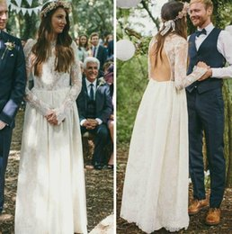Wholesale Classy Backless Dresses - Chic And Totally Classy Bohemian Long Sleeve Wedding Dresses 2016 Custom Made Jewel Open Back Full length A-line Lace Bridal Gown