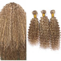 Wholesale Human Hair Extensions Blonde Highlights - 8A Highlight Brown Blonde Deep Wave Piano Hair 3 Bundles Brazilian Virgin Hair Deep Curly Mixed 2 Tone Human Hair Extensions
