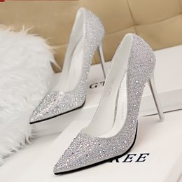 Wholesale Sexy Blue Prom Shoes - Bling Bling 2015 Sexy Silver Stiletto heel Wedding Shoes Pointed Toe Beads Crystal Shoes for Wedding Prom Party EA0098