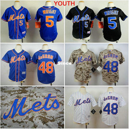 Wholesale Shirts For Children Boy - 30 Teams- Youth New York Mets 5 David Wright 48 Jacob DeGrom boys ny Jersey stitched Authentic Kids Baseball Shirt for children