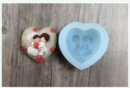 Wholesale Wedding Fondant Molds - R1004 food grade quality, lovers heart-shaped soap mold silicone mold chocolate mold fondant wedding cake decoration candle molds
